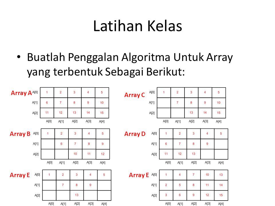 Latihan Kelas Buatlah Penggalan Algoritma Untuk Array yang terbentuk Sebagai Berikut: Array A. Array C.