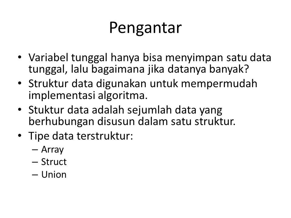 Pengantar Variabel tunggal hanya bisa menyimpan satu data tunggal, lalu bagaimana jika datanya banyak