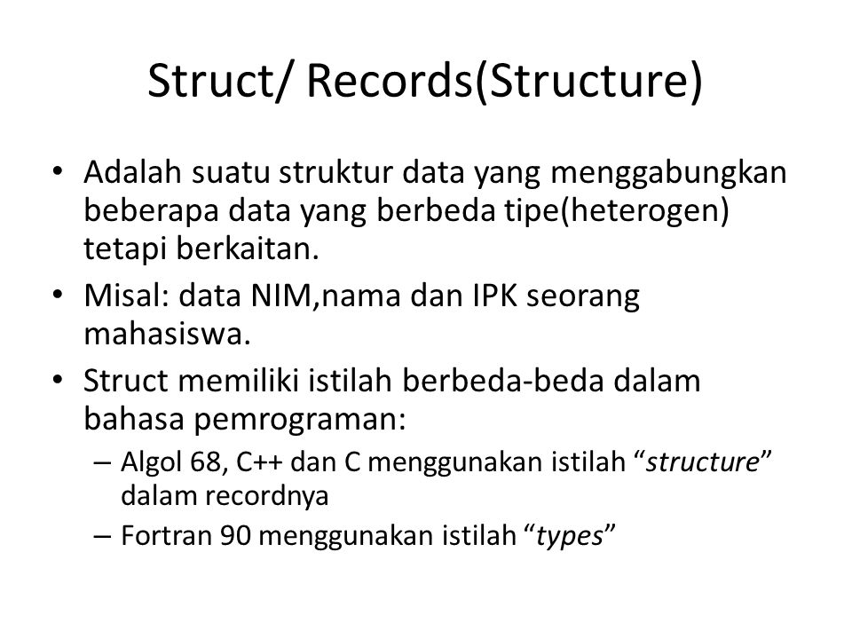 Struct/ Records(Structure)