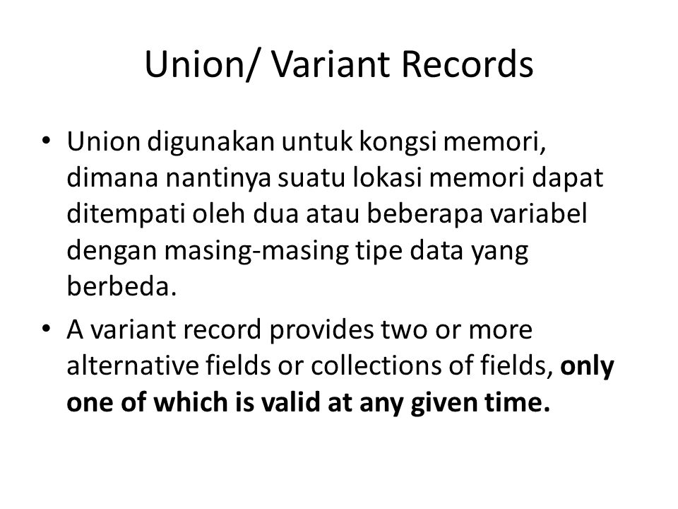 Union/ Variant Records