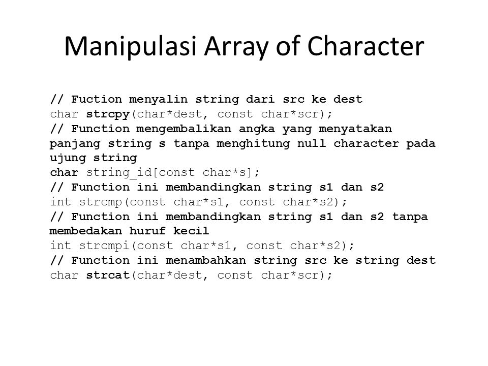 Manipulasi Array of Character