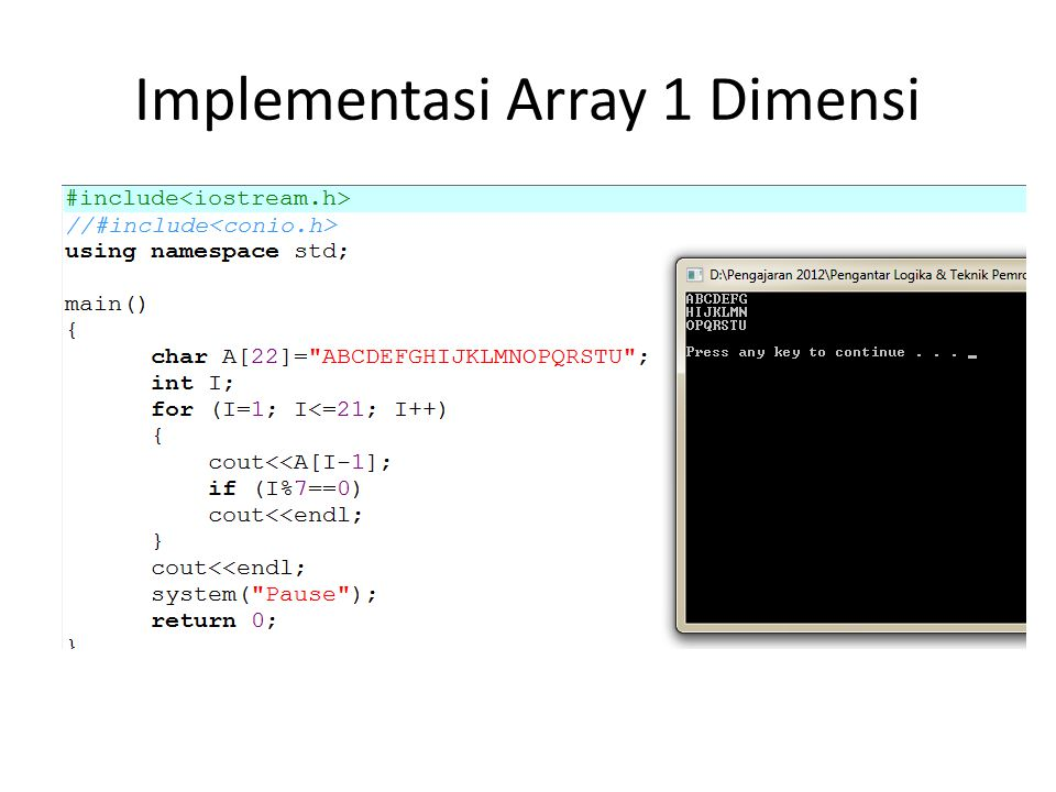 Implementasi Array 1 Dimensi