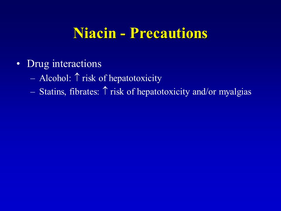 Niacin - Precautions Drug interactions