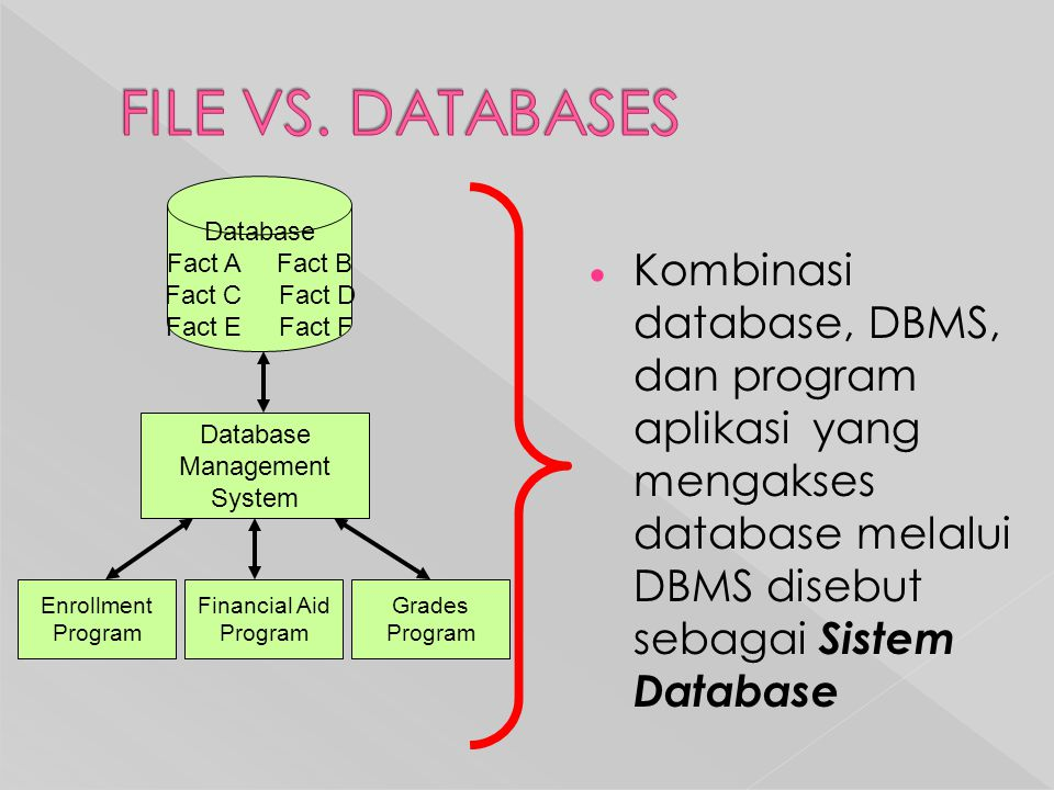 FILE VS. DATABASES Database. Fact A Fact B. Fact C Fact D. Fact E Fact F.
