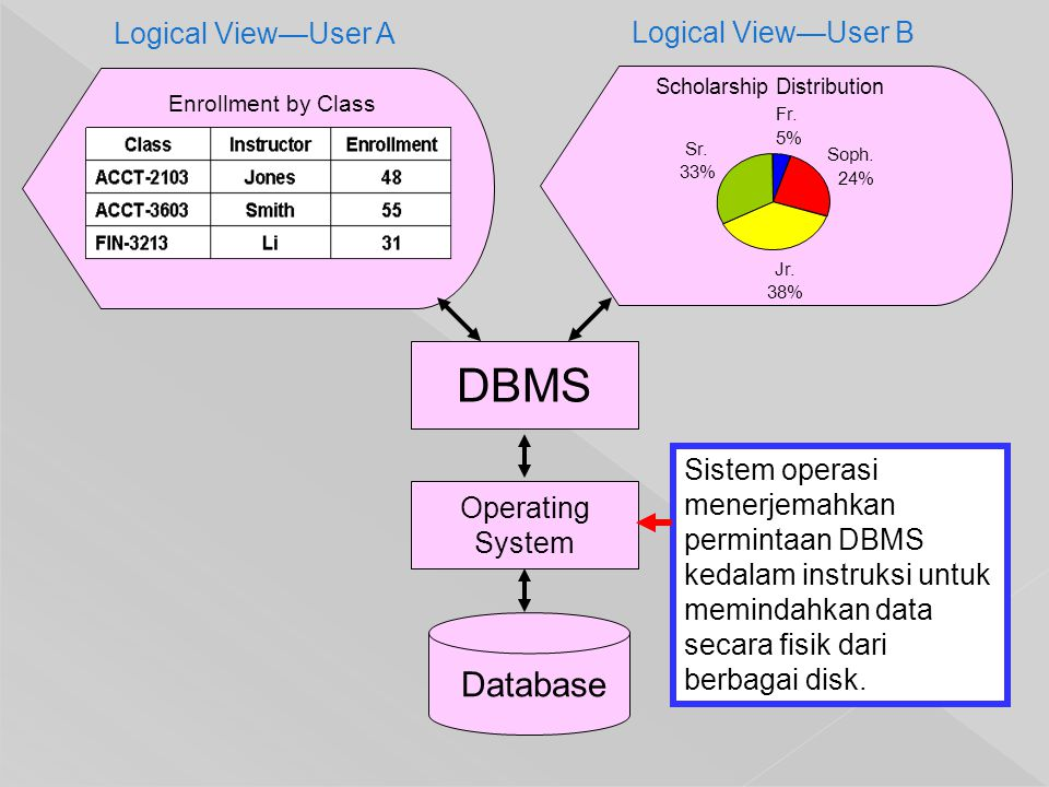 DBMS Database Logical View—User A Logical View—User B