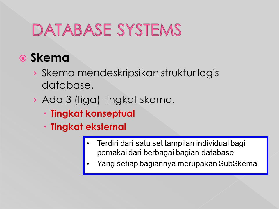 DATABASE SYSTEMS Skema Skema mendeskripsikan struktur logis database.