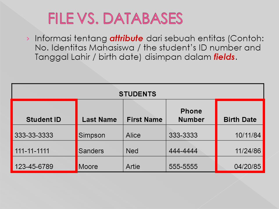 FILE VS. DATABASES