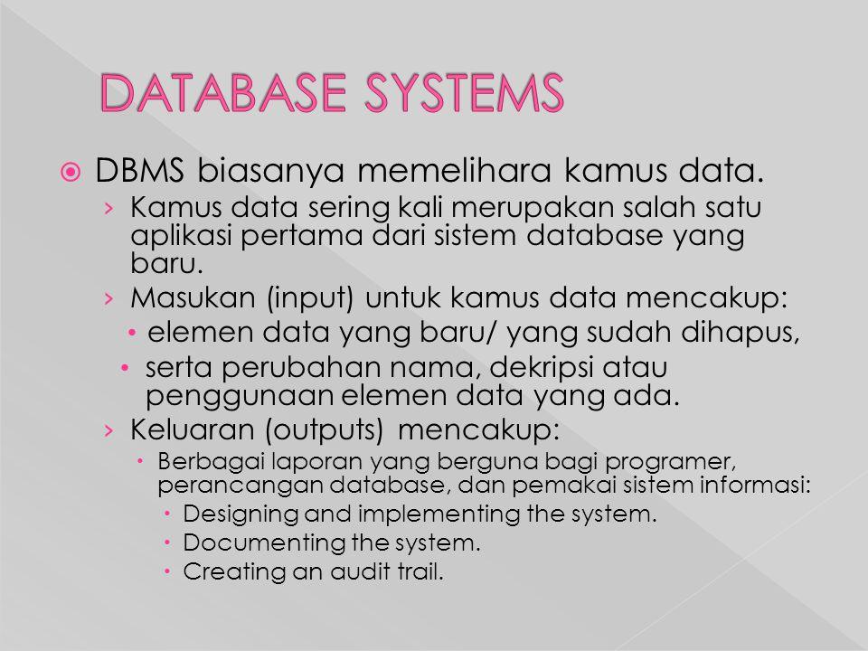 DATABASE SYSTEMS DBMS biasanya memelihara kamus data.