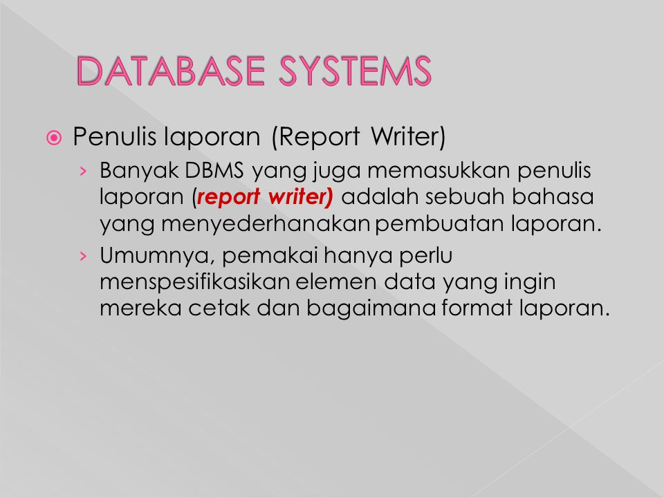 DATABASE SYSTEMS Penulis laporan (Report Writer)