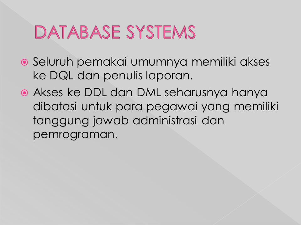 DATABASE SYSTEMS Seluruh pemakai umumnya memiliki akses ke DQL dan penulis laporan.