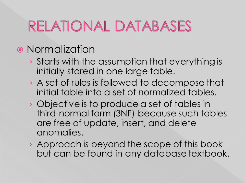 RELATIONAL DATABASES Normalization
