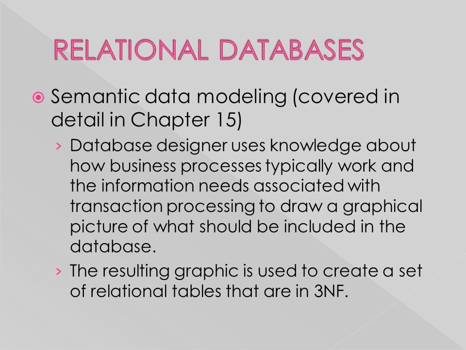 RELATIONAL DATABASES Semantic data modeling (covered in detail in Chapter 15)