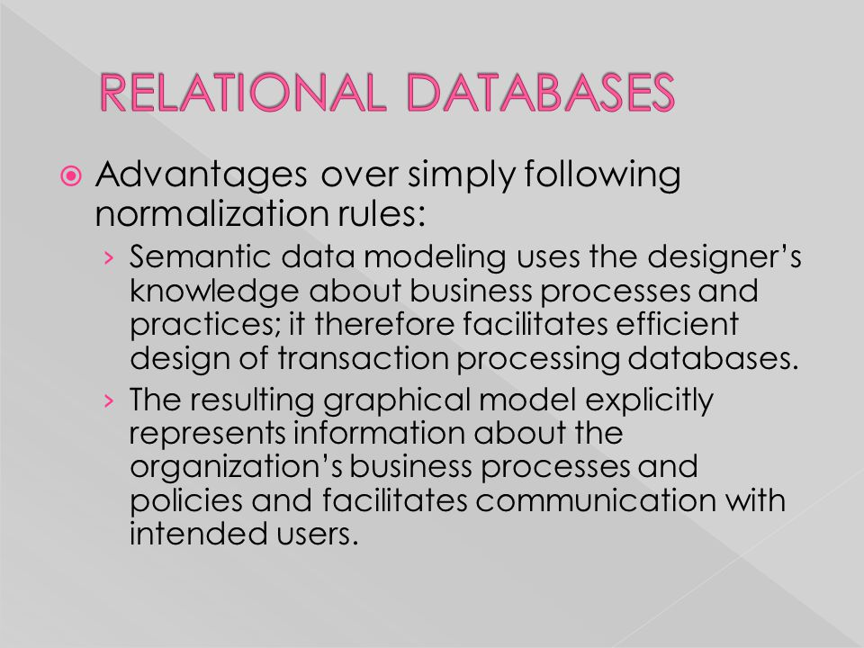 RELATIONAL DATABASES Advantages over simply following normalization rules: