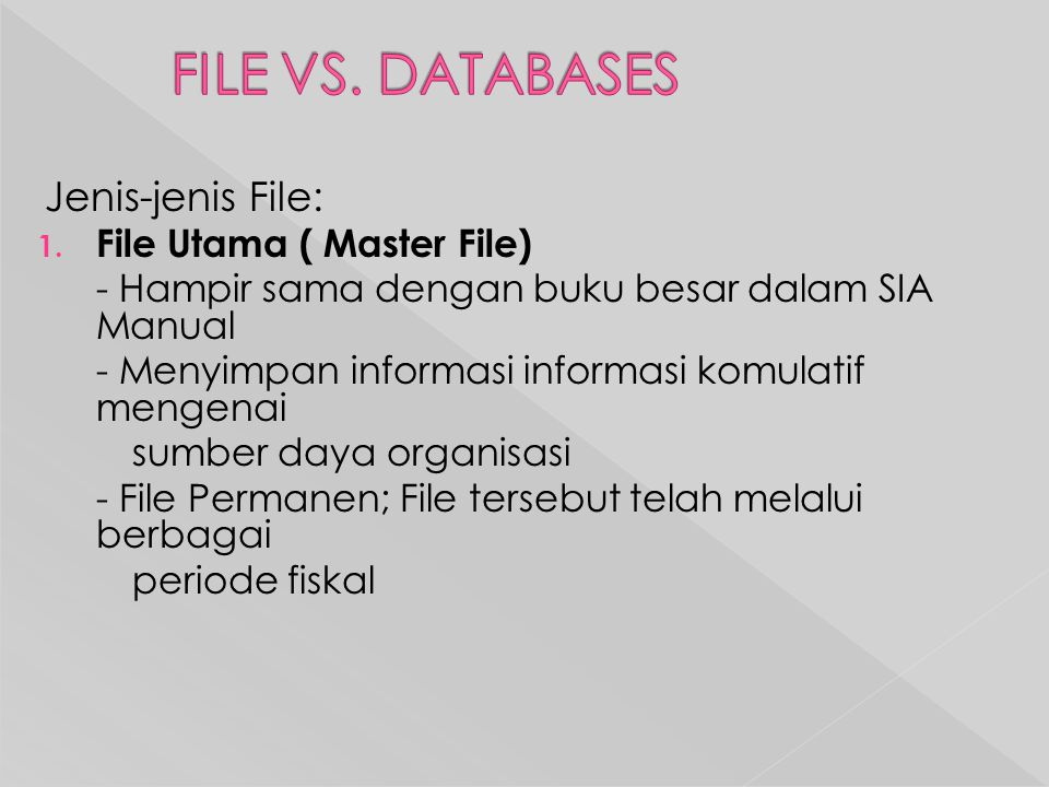 FILE VS. DATABASES Jenis-jenis File: File Utama ( Master File)