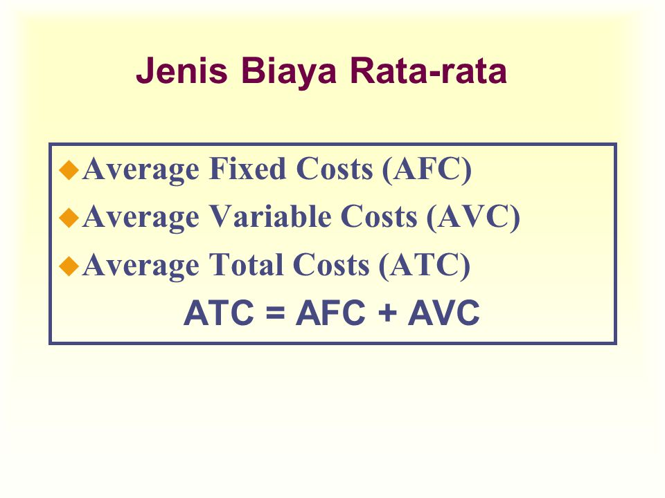 Jenis Biaya Rata-rata ATC = AFC + AVC Average Fixed Costs (AFC)