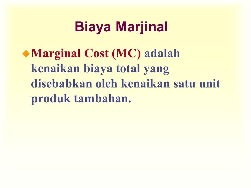 Biaya Marjinal Marginal Cost (MC) adalah kenaikan biaya total yang disebabkan oleh kenaikan satu unit produk tambahan.