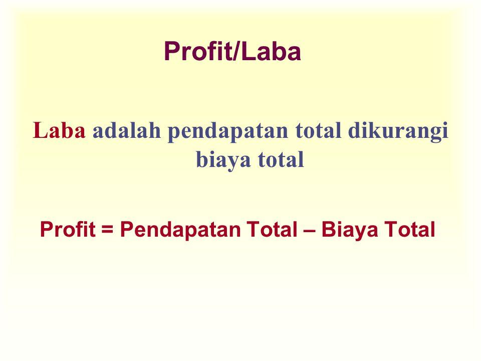 Laba adalah pendapatan total dikurangi biaya total