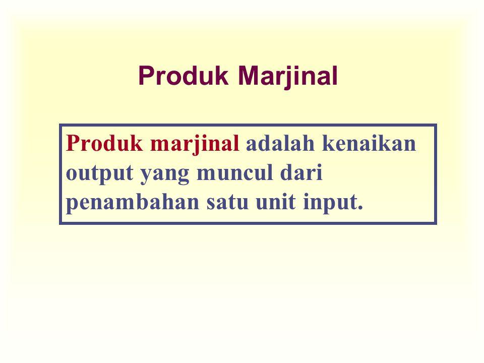 Produk Marjinal Produk marjinal adalah kenaikan output yang muncul dari penambahan satu unit input.