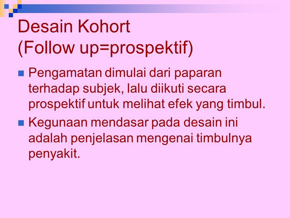 Desain Kohort (Follow up=prospektif)