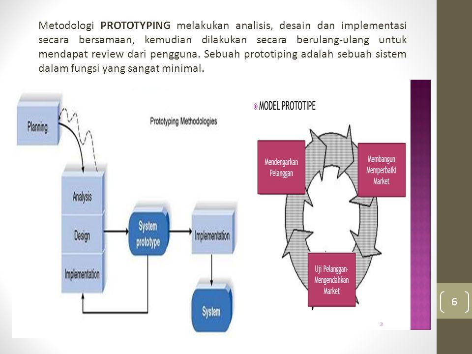 Metodologi PROTOTYPING melakukan analisis, desain dan implementasi secara bersamaan, kemudian dilakukan secara berulang-ulang untuk mendapat review dari pengguna.