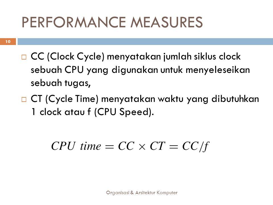 PERFORMANCE MEASURES CC (Clock Cycle) menyatakan jumlah siklus clock sebuah CPU yang digunakan untuk menyeleseikan sebuah tugas,