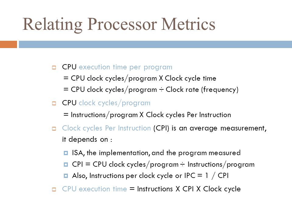 Relating Processor Metrics