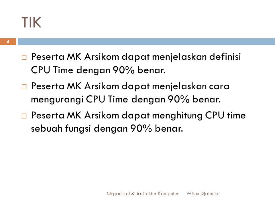 TIK Peserta MK Arsikom dapat menjelaskan definisi CPU Time dengan 90% benar.