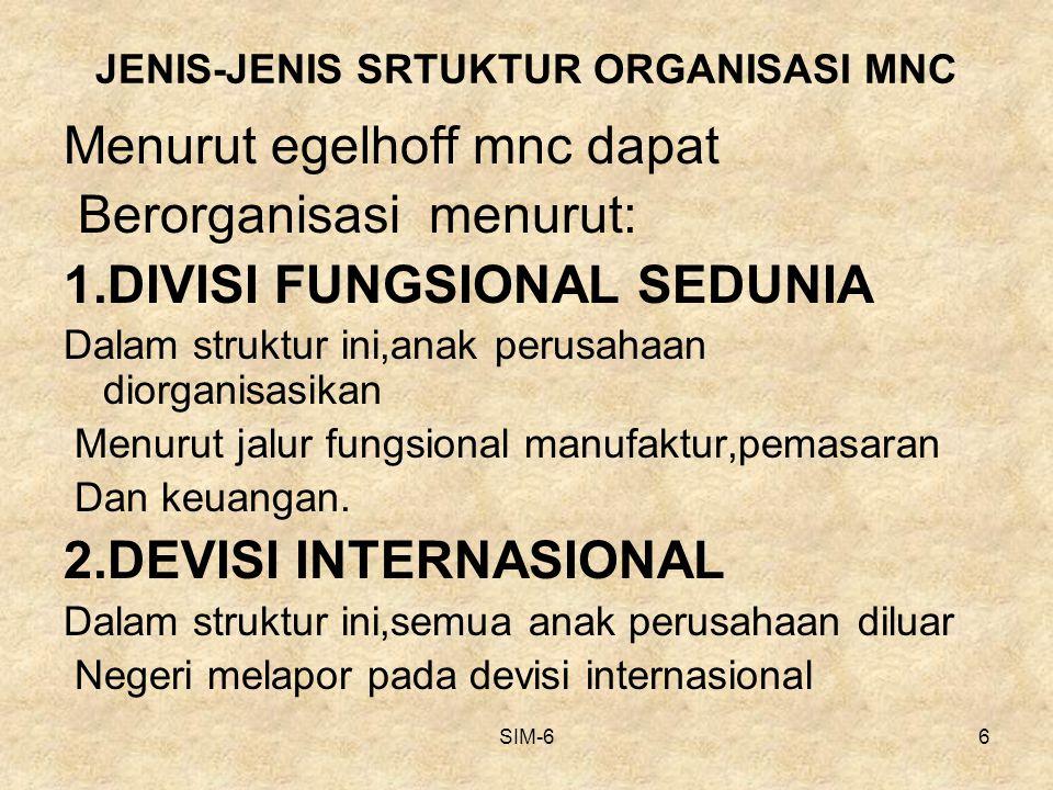 JENIS-JENIS SRTUKTUR ORGANISASI MNC