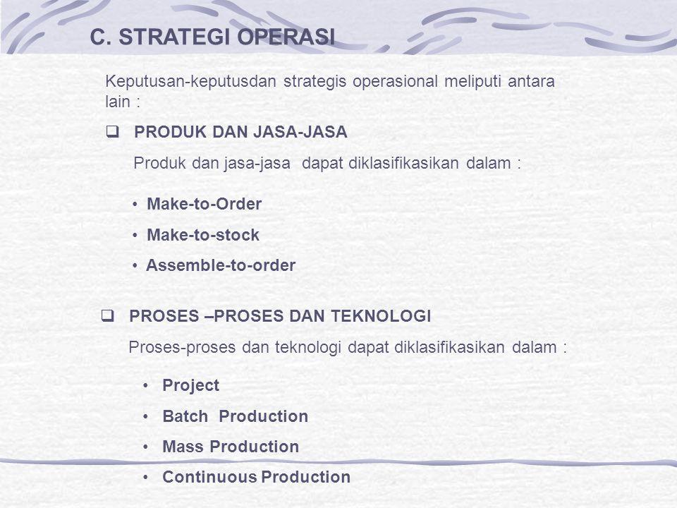 C. STRATEGI OPERASI Keputusan-keputusdan strategis operasional meliputi antara lain : PRODUK DAN JASA-JASA.