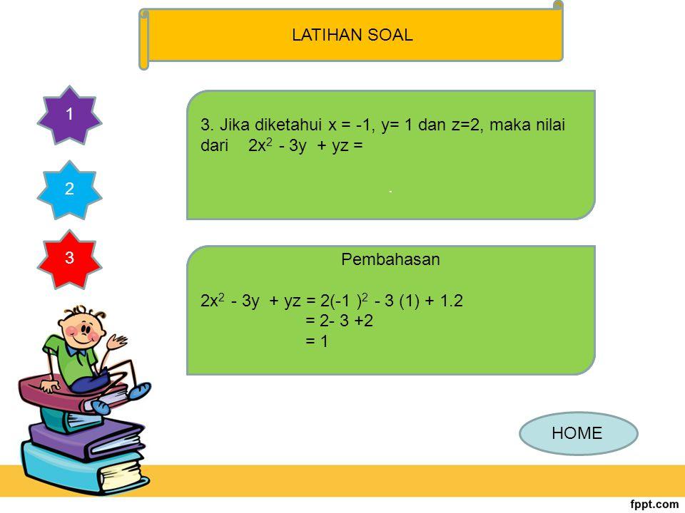 2. Bentuk paling sederhana dari -3 (x-6y) + 3(2x – y) adalah... .