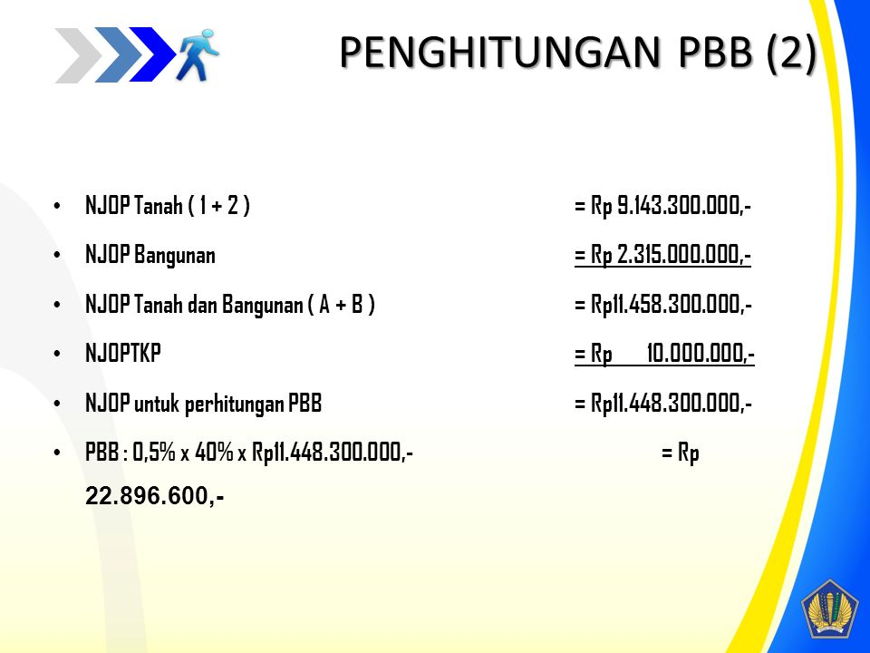 PENGHITUNGAN PBB (2) NJOP Tanah ( 1 + 2 ) = Rp 9.143.300.000,-
