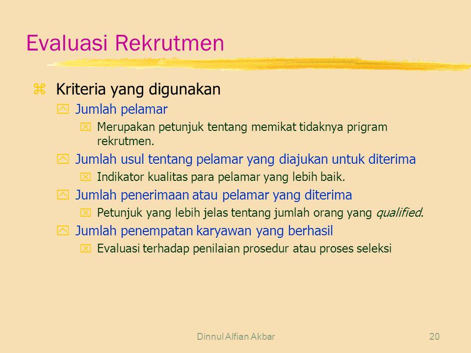Evaluasi Rekrutmen Kriteria yang digunakan Jumlah pelamar