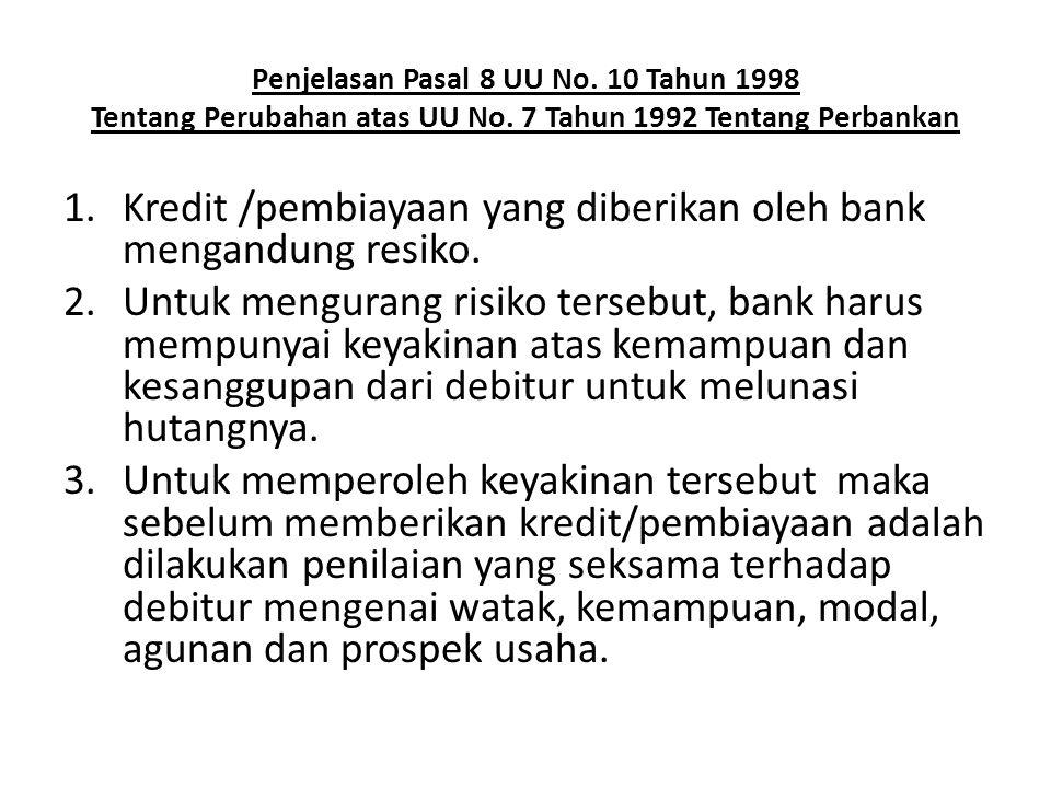 Kredit /pembiayaan yang diberikan oleh bank mengandung resiko.