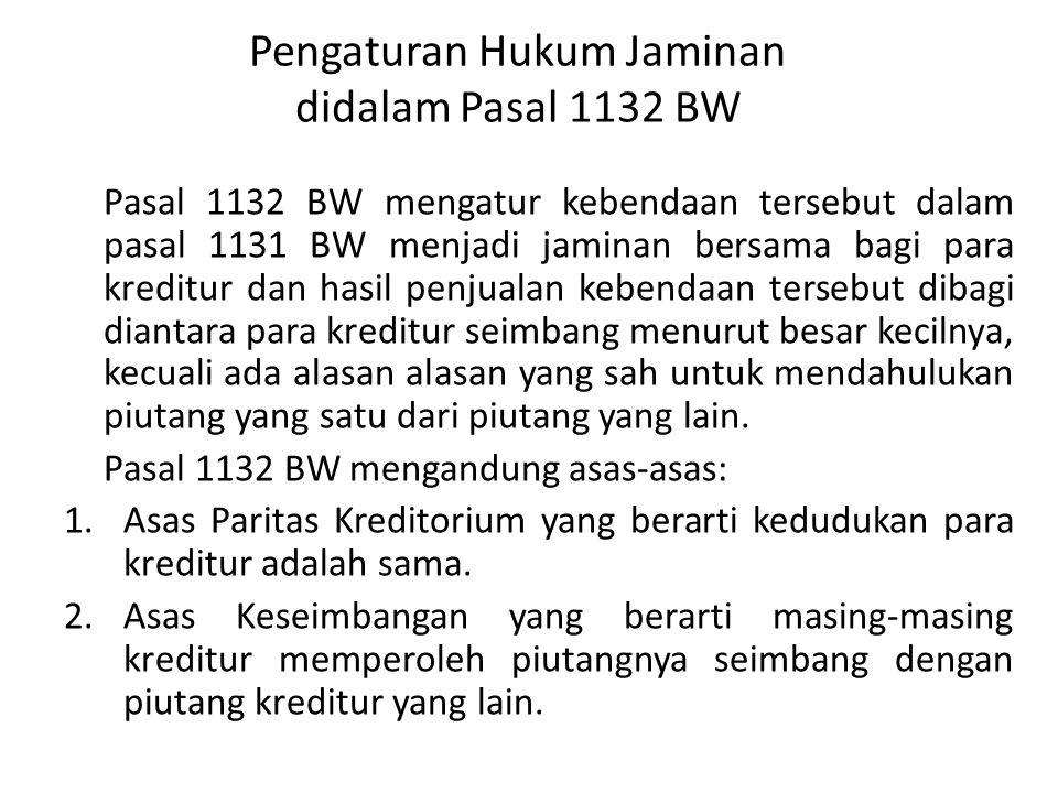 Pengaturan Hukum Jaminan didalam Pasal 1132 BW