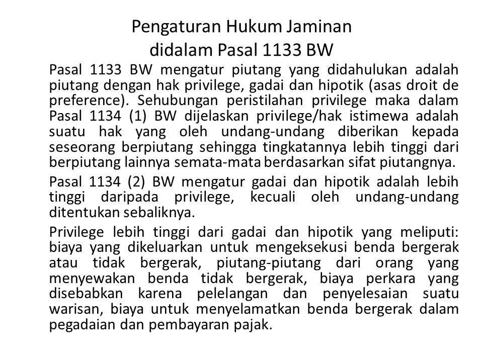 Pengaturan Hukum Jaminan didalam Pasal 1133 BW