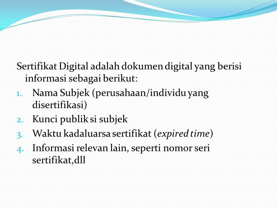 Sertifikat Digital adalah dokumen digital yang berisi informasi sebagai berikut: