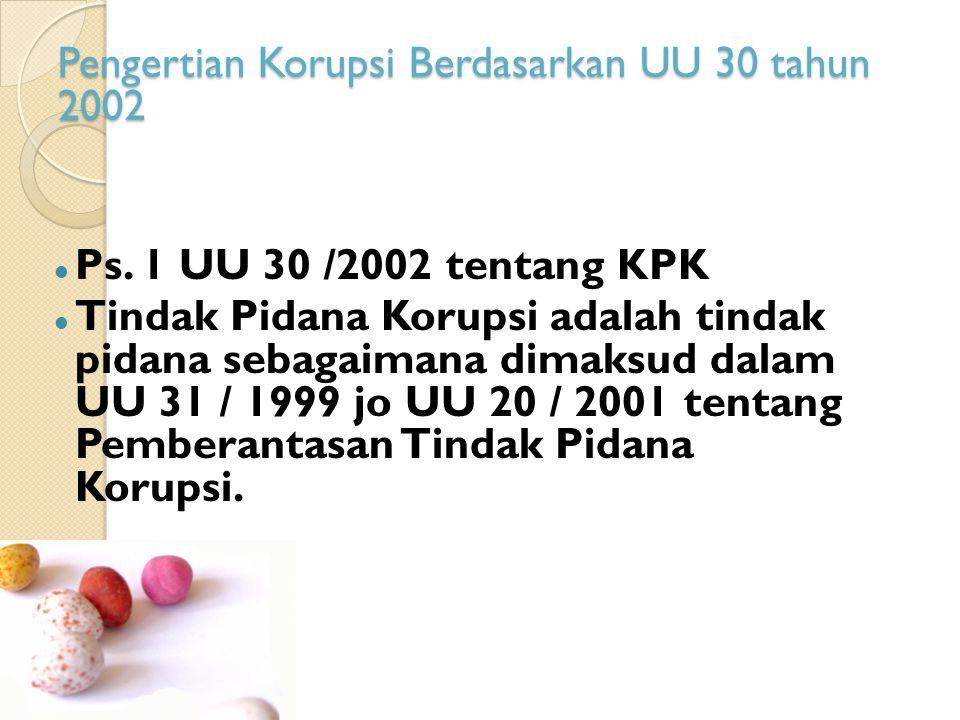 Pengertian Korupsi Berdasarkan UU 30 tahun 2002