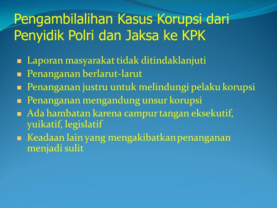 Pengambilalihan Kasus Korupsi dari Penyidik Polri dan Jaksa ke KPK