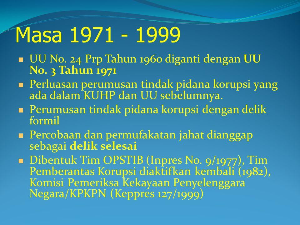 Masa 1971 - 1999 UU No. 24 Prp Tahun 1960 diganti dengan UU No. 3 Tahun 1971.