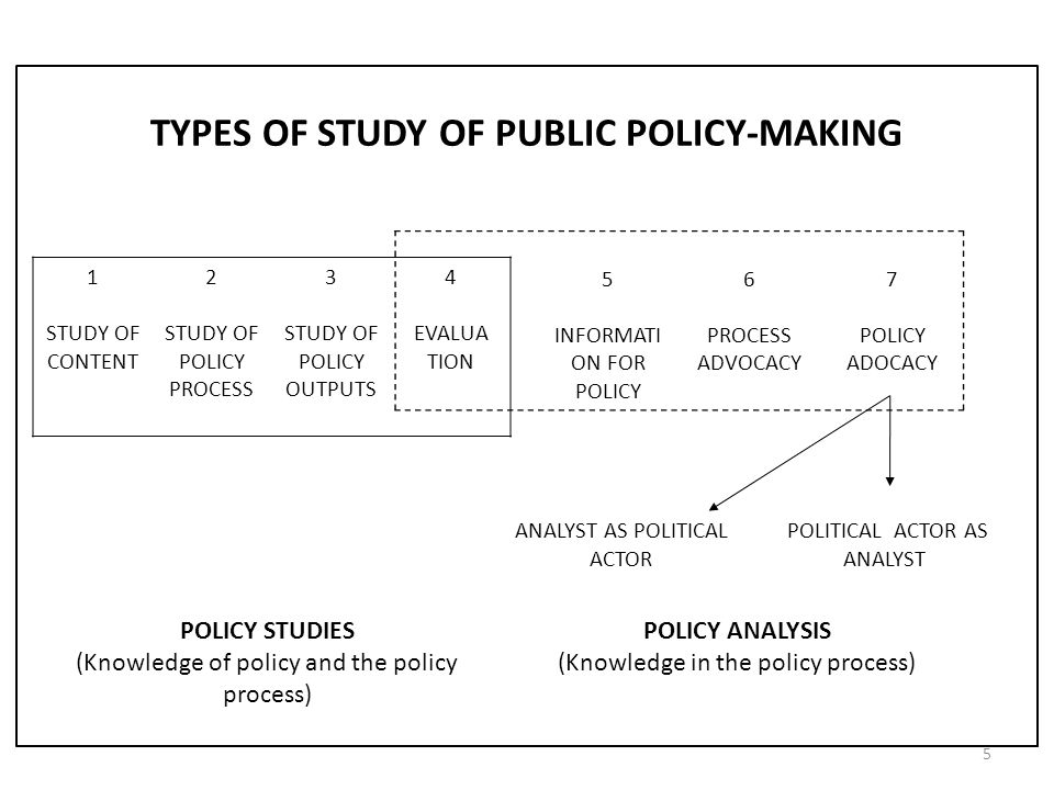 TYPES OF STUDY OF PUBLIC POLICY-MAKING