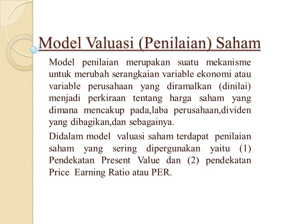 Model Valuasi (Penilaian) Saham