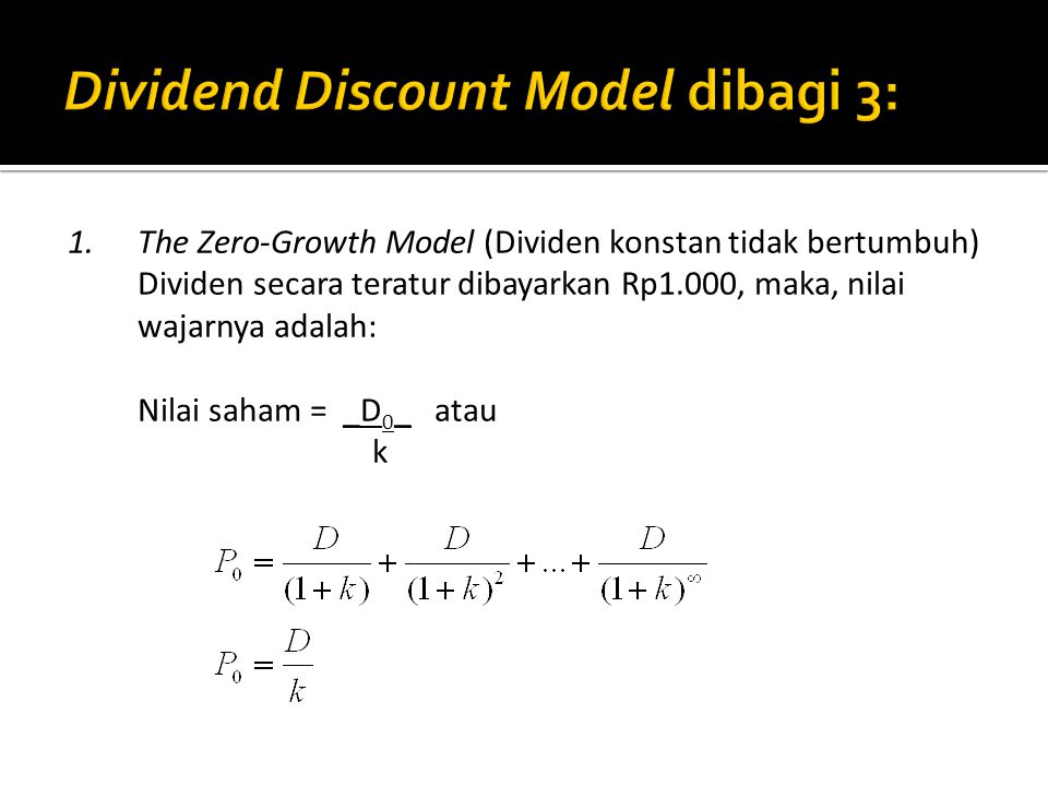Dividend Discount Model dibagi 3: