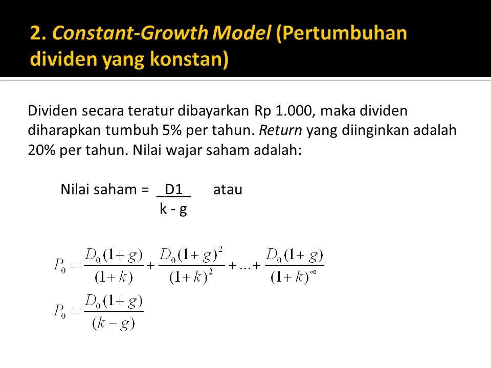 2. Constant-Growth Model (Pertumbuhan dividen yang konstan)