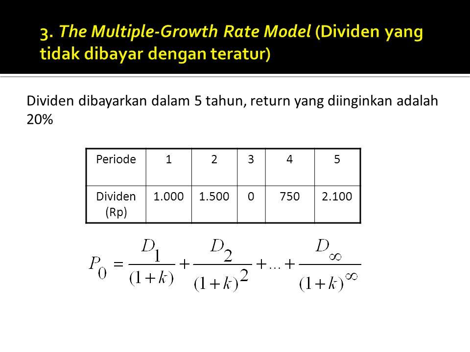 3. The Multiple-Growth Rate Model (Dividen yang tidak dibayar dengan teratur)