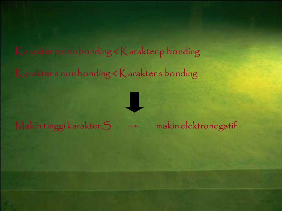 Karakter p non bonding < Karakter p bonding