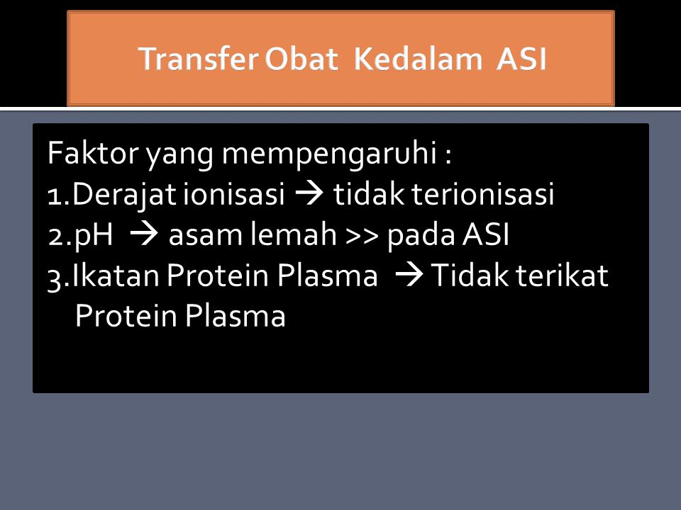 Transfer Obat Kedalam ASI