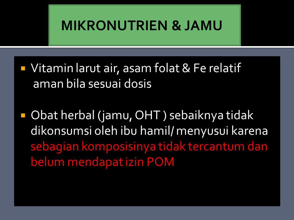 MIKRONUTRIEN & JAMU Vitamin larut air, asam folat & Fe relatif