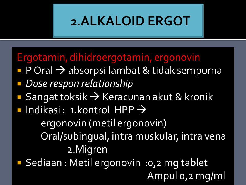 2.ALKALOID ERGOT Ergotamin, dihidroergotamin, ergonovin