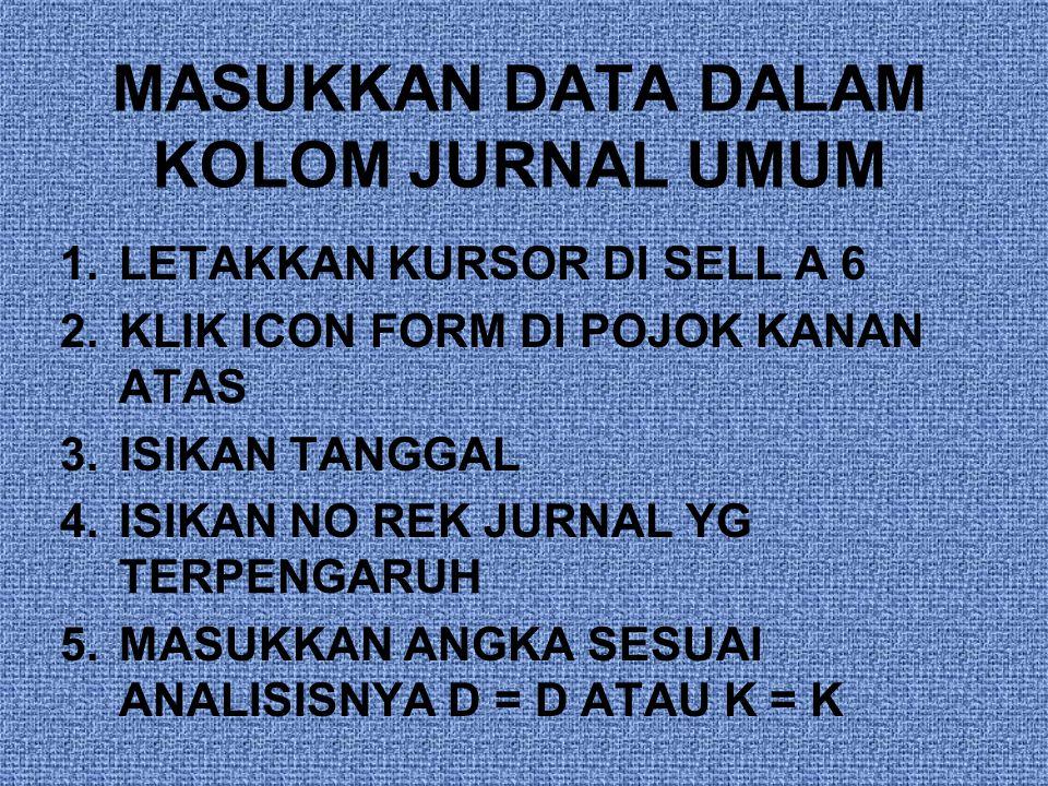 MASUKKAN DATA DALAM KOLOM JURNAL UMUM
