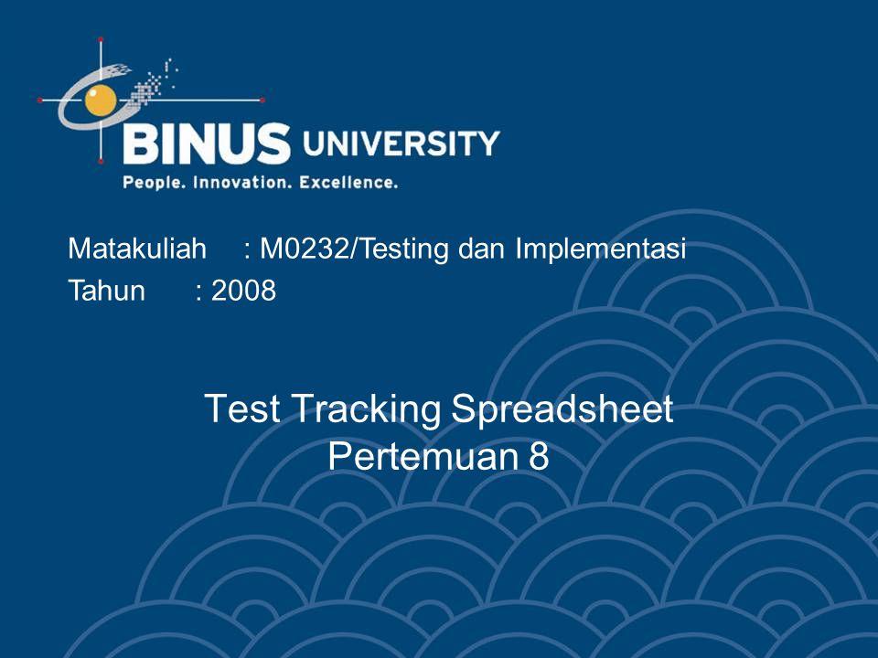 Test Tracking Spreadsheet Pertemuan 8